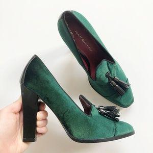 Like new! Tommy Hilfiger Green Velvet Tassel Heels